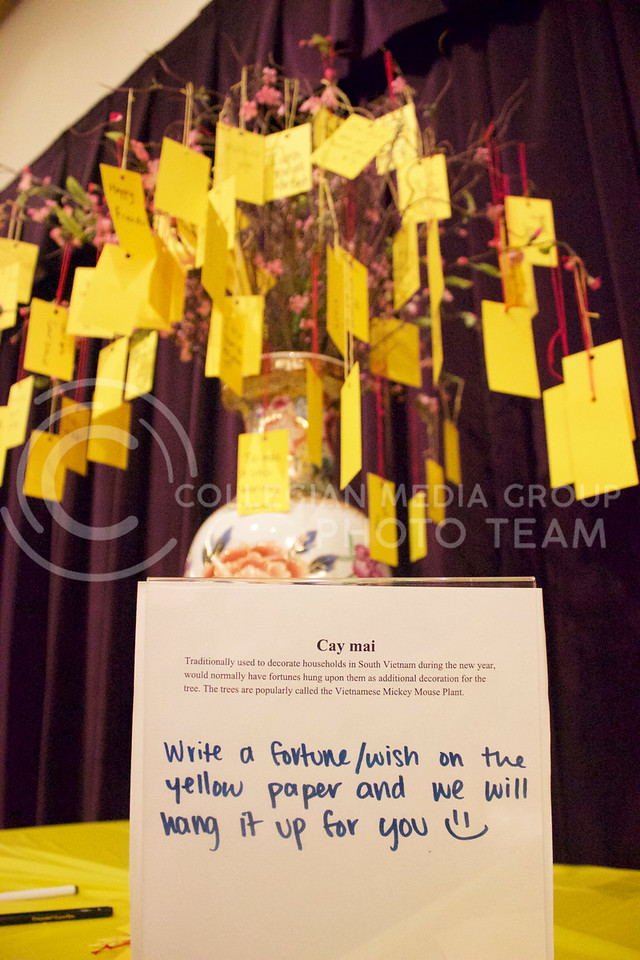 A fortune tree is displayed for people to write their wishes to hang on the tree at the New Years festival at the student union on Feb. 04, 2017. (Kelly Pham | The Collegian)