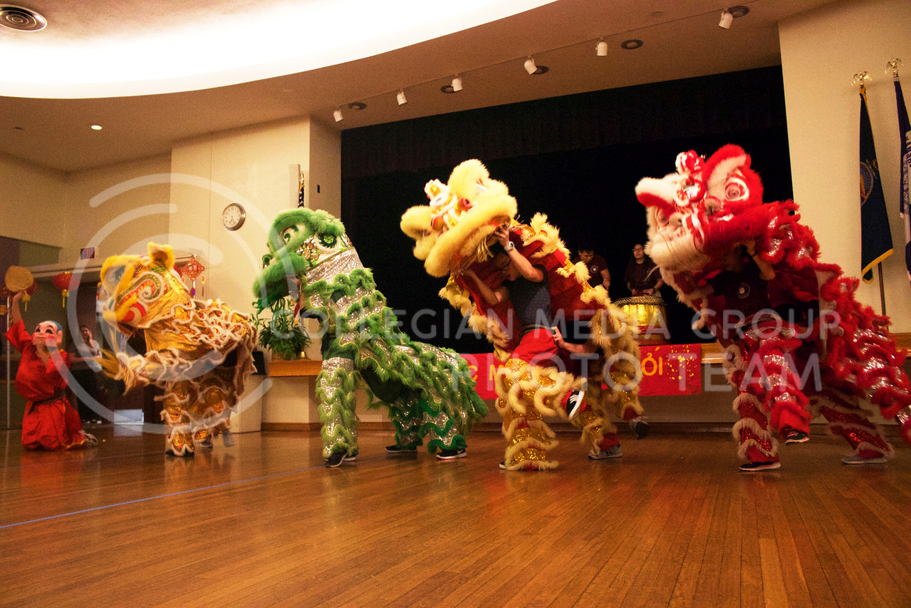 St. Anthony's lion dance team from Witchita gives the crowd a traditional performance at the New Years festival at the union on Feb. 04, 2017. (Kelly Pham | The Colllegian)