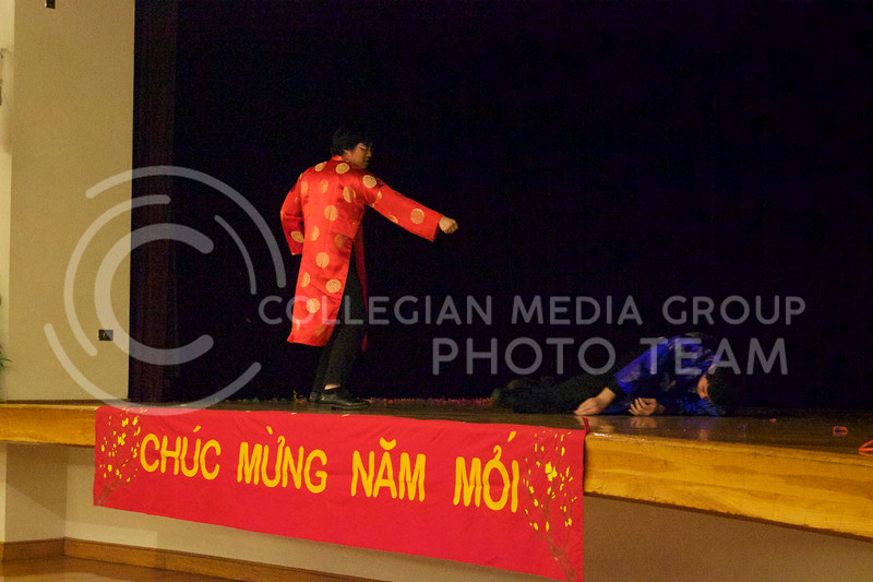 Sophomore Brian Tran and Senior in mechanical engineering Micheal Tran demonstrate self defense at the New Years festival on Feb. 04, 2017. ( Kelly Pham | The Collegian)