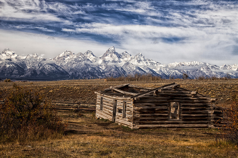 Cabin and Tetons