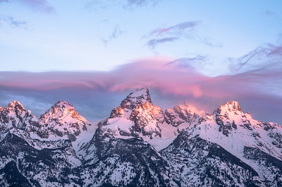Morning alpenglow on the Tetons