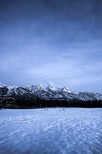 Blue hour is about to come to an end in Grand Teton National Park
