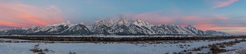 Panorama of a Grand Teton sunrise