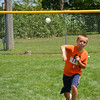 Peyton Tegeler throws a pitch during the wiffle ball tournament Sunday.