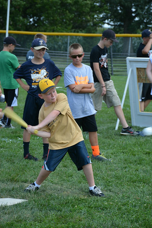 Tyler Runde awaits the ball during Sunday's wiffle ball tournament in Teutopolis.