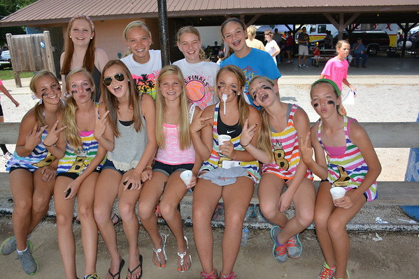 This group was having a blast in the third base dugout at the KC ball diamond Sunday. Front row from left, Lauren Wessel, Marianna Hemmen, Madeline Hoene, Morgan Mette, Julia Schmid, Kara Weichman, and Allie Niebrugge. Back row from left, Wittni Cotton, Lauren Hemmen, Abby Bloemer and Karsyn Mette.
