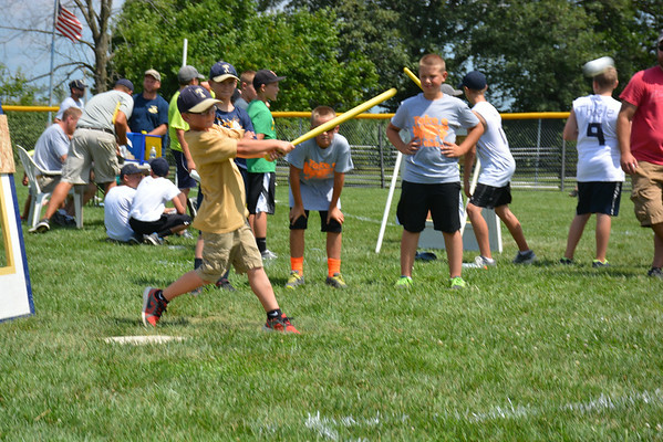 Jackson Pals takes a robust swing during Sunday's wiffle ball tournament in Teutopolis.