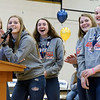 Sadie Bueker addresses the crowd for the rest of the seniors (L-R) Morgan Mette, Savannah Grimes, Hannah Pruemer, and Emma Deters during a welcome home celebration for the Lady Shoes at Teuopolis High School Sunday afternoon.<br /> <br /> Chet Piotrowski Jr. photo/Piotrowski Studios