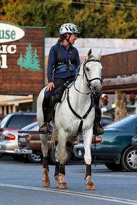 Lisa Jordan rides Teej through the town of Foresthill (96413)
