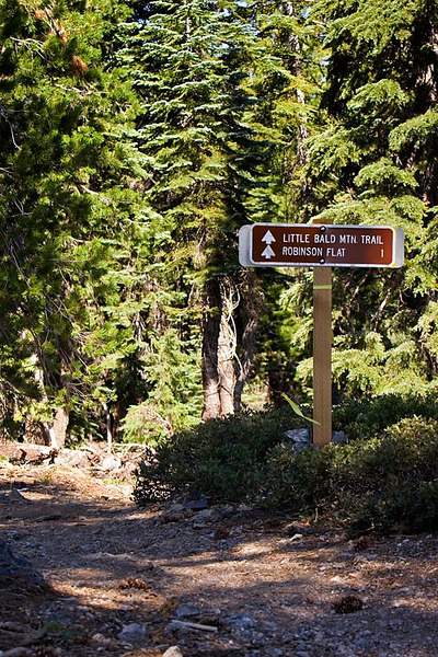 """I shot all of the riders down a bit from this, the top of the """"new"""" trail out of Robinson Flat. Hiked another 1/2 mile further looking for the best spot and shot the sign so I'd know where I'd been.  :-)"""