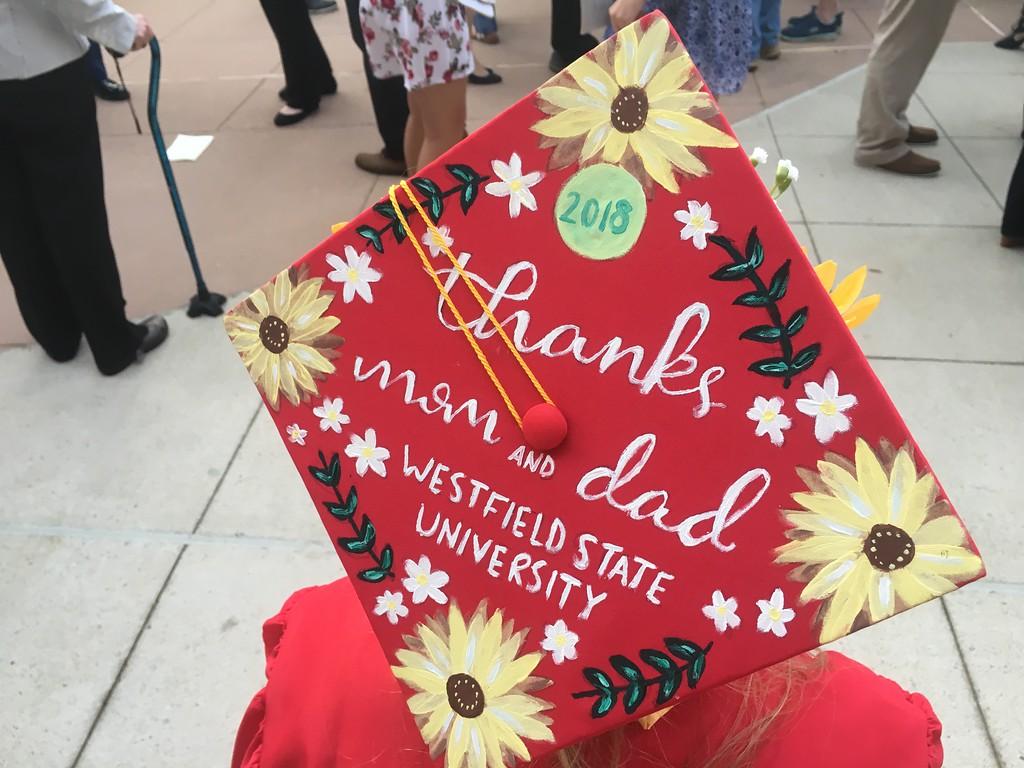 . The decorated cap of Tewksbury Memorial High School graduate Erin Coulter. SUN/KORI TUITT