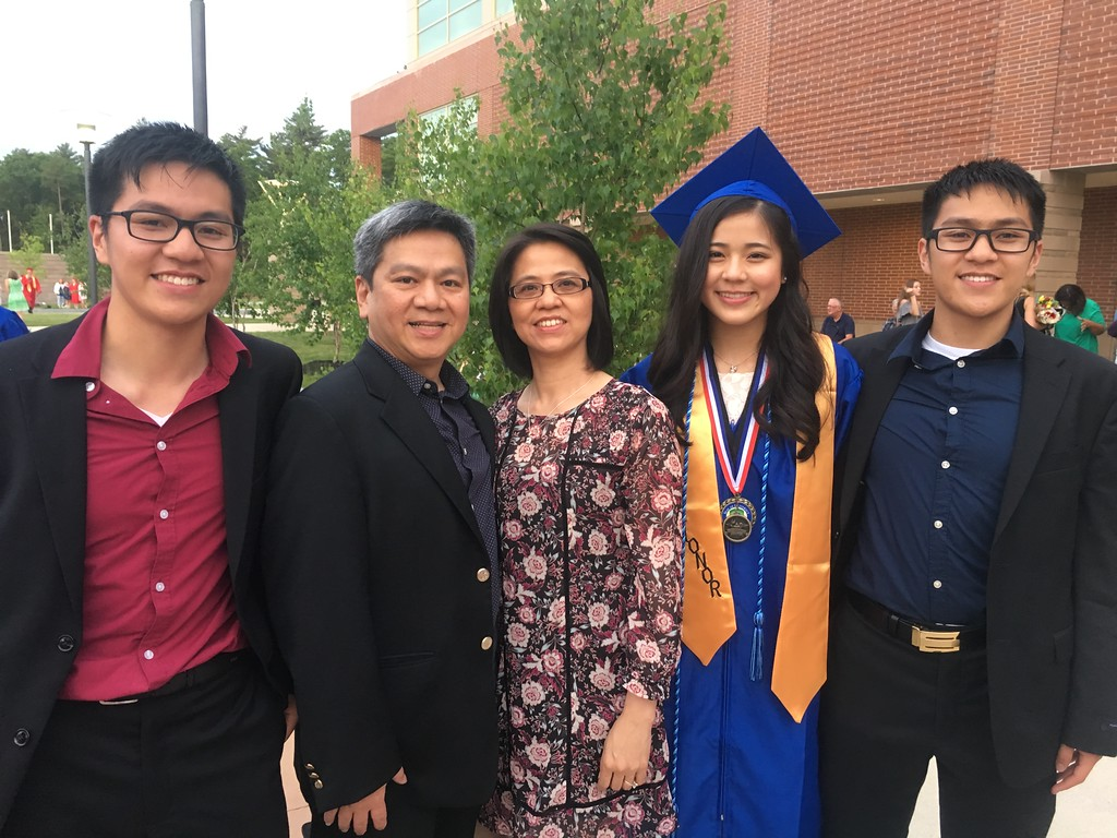 . Stephanie Tam, second from right, was the salutatorian of Tewksbury Memorial High School�s Class of 2018. She is pictured here with her family. From left to right, Bryan Tam, her brother, Gene Tam, her father, Jennifer Tam, her mother, and Ronald Tam, her brother. She will be attending Worcester Polytechnic Institute. SUN/KORI TUITT