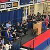 Tewksbury Superintendent Christopher Malone addressing the Tewksbury Memorial High School Class of 2018. SUN/KORI TUITT