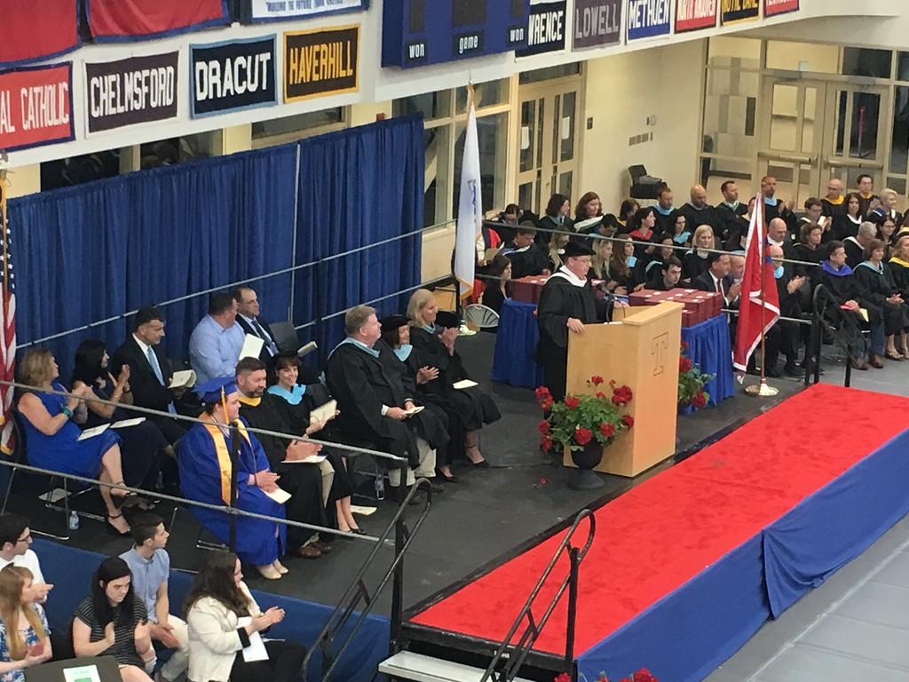. Tewksbury Superintendent Christopher Malone addressing the Tewksbury Memorial High School Class of 2018. SUN/KORI TUITT