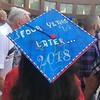 The decorated cap of Tewksbury Memorial High School graduate Allyson Bechat. SUN/KORI TUITT