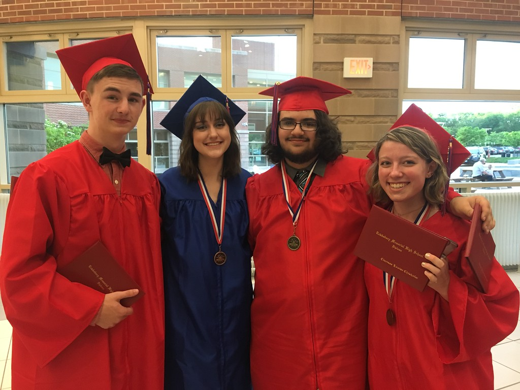 . Tewksbury Memorial High School graduates Peter Carey, Samantha Nugent, Joseph Bartevyan and Clarissa Chisholm. SUN/KORI TUITT