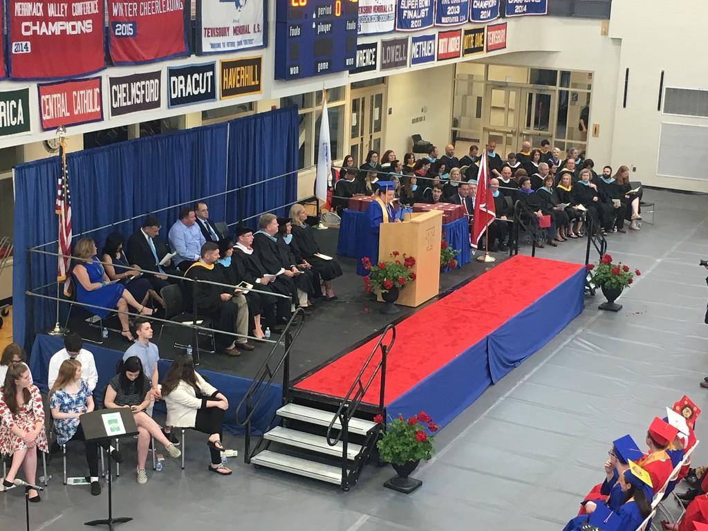 . Tewksbury Memorial High School graduate Caitlin Panessiti served as the MC for the Class of 2018\'s commencement ceremony. SUN/KORI TUITT