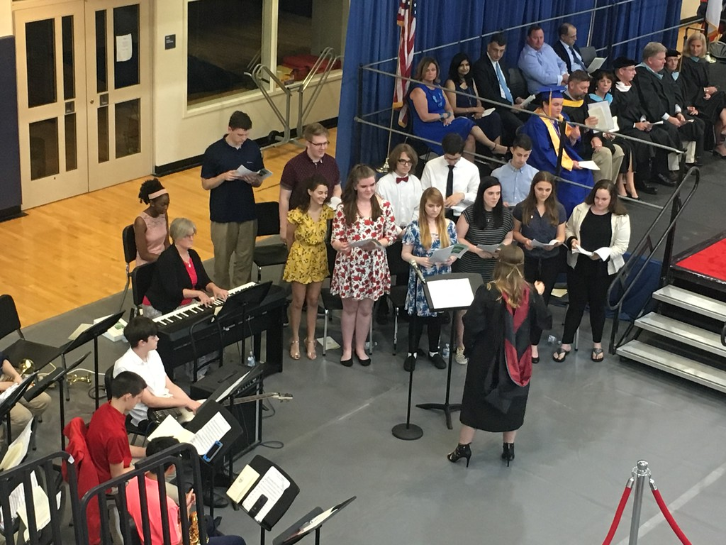 """. The Tewksbury Memorial High School Chorus performed the song For Good from \""""Wicked\"""" at the commencement ceremony for the Class of 2018. SUN/KORI TUITT"""