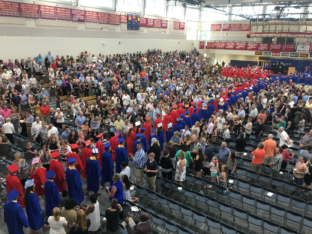 . Tewksbury Memorial High School\'s Class of 2018 filed into the school\'s gymnasium for their commencement. SUN/KORI TUITT