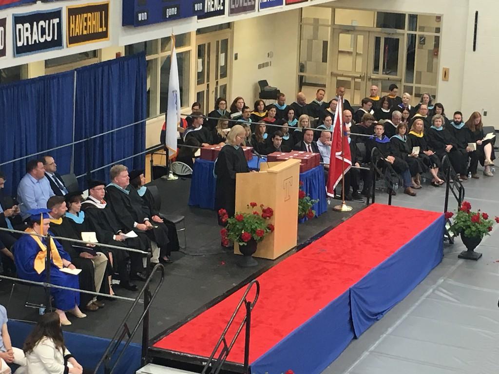 . Tewksbury Memorial High School Principal Kristen Vogel addressing the Class of 2018. SUN/KORI TUITT