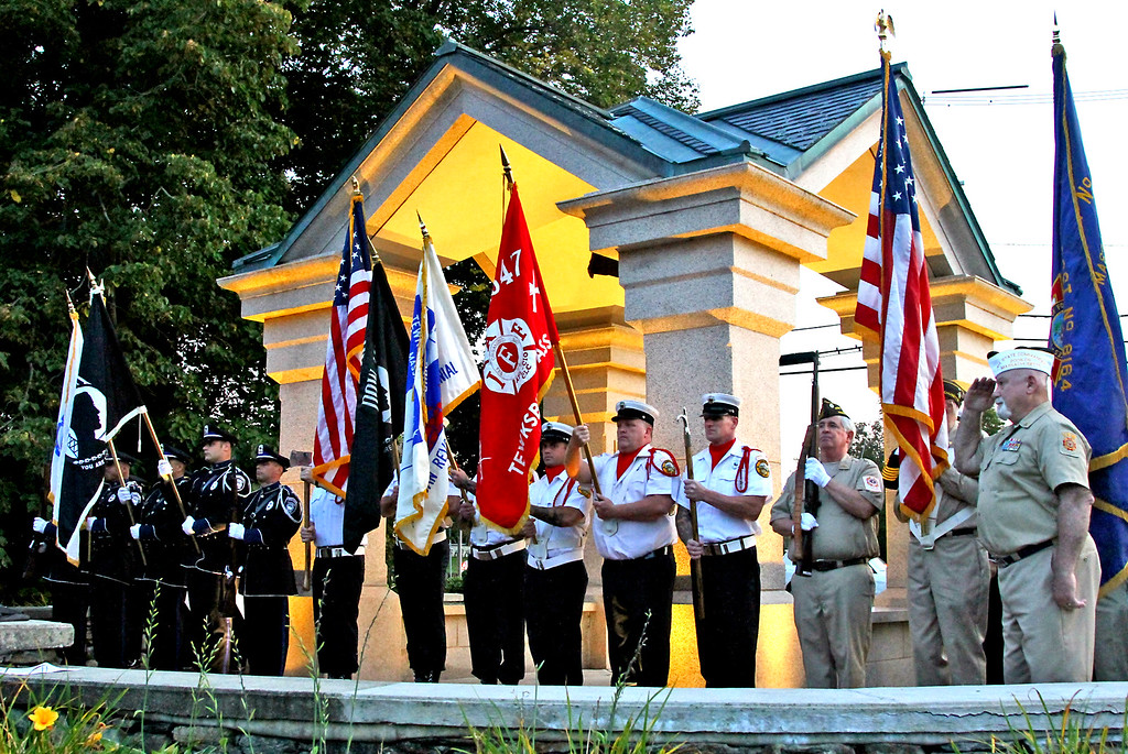 . Presentation of Colors & Honor Guard, Tewksbury Fire, Police and VFW. SUN Photo by David H. Brow