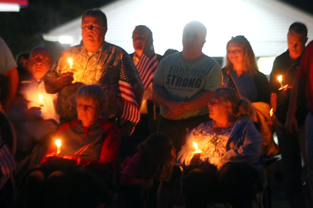 . Attendees at the 9-11 Memorial in Tewksbury. SUN Photo by David H. Brow