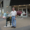Late in the day on Sunday, April 20, outside one of the stores in Alamo Quarry Market, which was located across the street from the Meridian. Parker looks weary, as if he has been riding this steer!