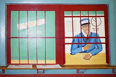 Ticket Window Mural in Railroad Depot, Alpine, TX