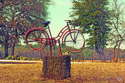 Bicycle sculpture on Kneese Road near Crabapple, TX
