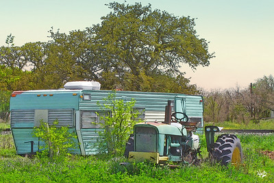 Vintage Trailer and Tractor in Dale, TX