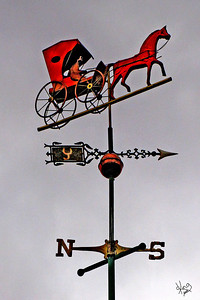 Horse and Buggy Weather Vane on top of Champe Jennings Jewelry, Fredericksburg, TX