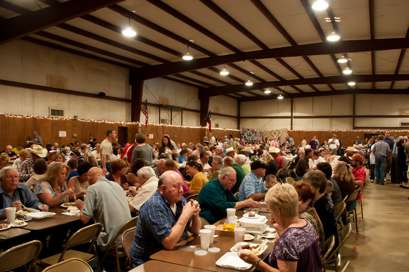 The parish hall was full of hungry people.