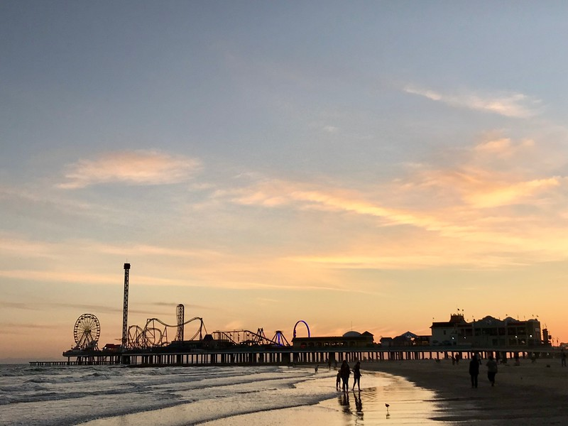 Pleasure Pier in Galveston at Sunset