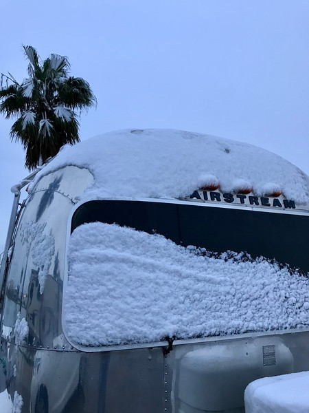 Airstream in Texas Snow