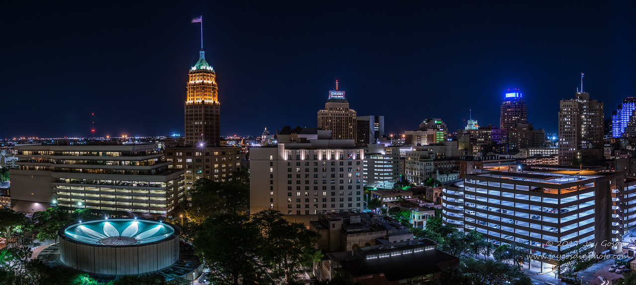 Downtown San Antonio looking West at Night