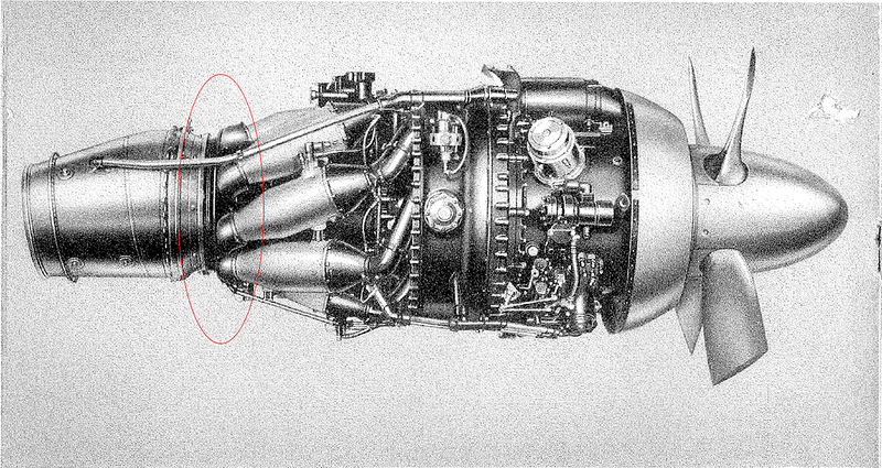 A representative illustration of the Rolls-Royce Dart engine.  The circled area is what is shown in the preceding photo.  Essentially, only the turbine and exhaust sections remain of the right hand engine.