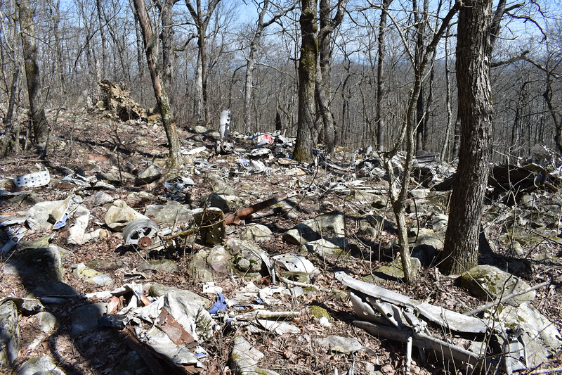 The south (upslope) portion of the crash site, from the east side looking towards the west.
