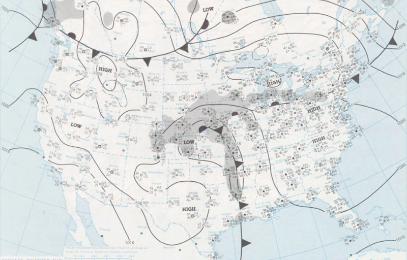 Forecast map from NOAA for the week of 24-30 September 1973, showing the approximate position of the cold front that spawned the system of thunderstorms that 655 attempted to navigate around.  The cockpit voice recorder (CVR) transcript reveals that Crosman and Tumlinson were using the onboard radar to find the best path to take.