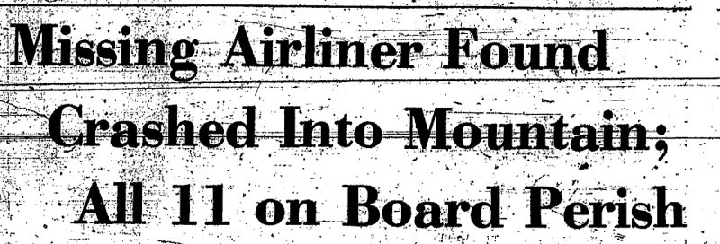 """From The Shreveport Times, October 1, 1973.  The aircraft was so far north of its planned route, that it took three days to find the airplane.  The official NTSB report indicates that a controller had noticed a """"1200"""" (VFR) target in the area, but aviation author Richard L. Collins wrote that the aircraft was found by a student pilot on a cross-country flight from Oklahoma."""