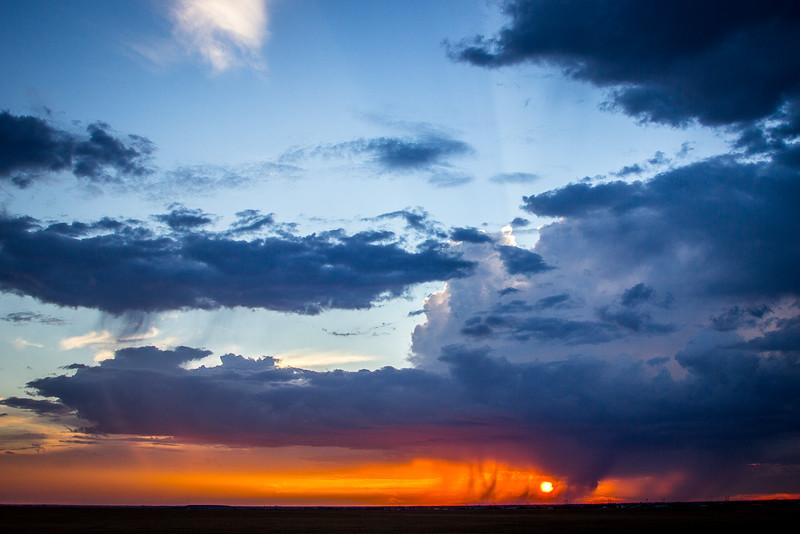 Walking rain at sunset, Canyon Texas.