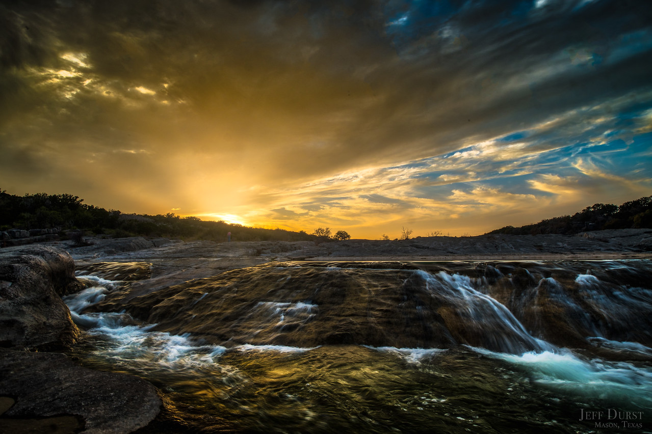 Pedenalas Falls Rapids Sunset