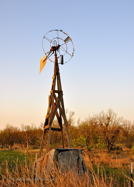 Old Texas windmill at Sunset #1