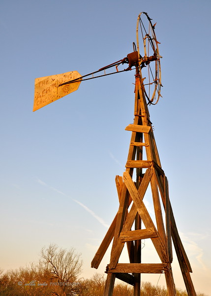 Old Texas windmill at Sunset #4