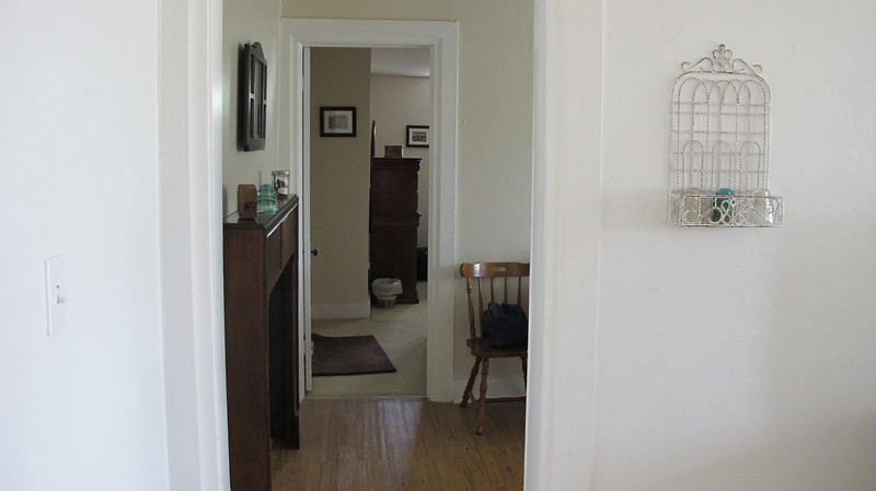 View from living room through kitchen to bedroom