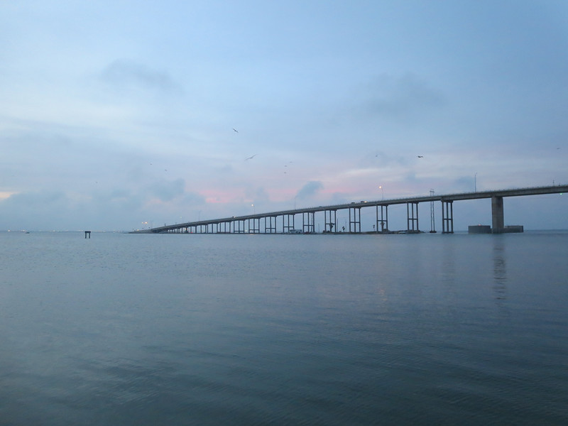 The causeway linking Padre Island with the mainland at Corpus Christi