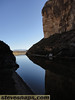 Looking out of Santa Elena Canyon in Big Bend, Mexico is on the right side.