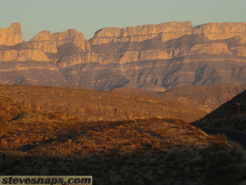 Sunset over the Sierra del Carmen range just across the boarder in Mexico near Boquillas Canyon