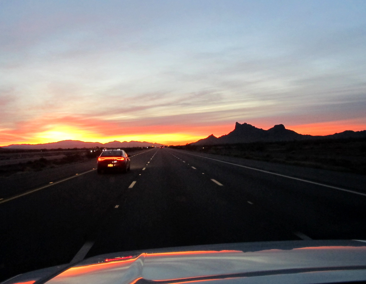 Leaving Phoenix at the crack of dawn, eastbound on I-10 near Picacho Peak State Park (on right).