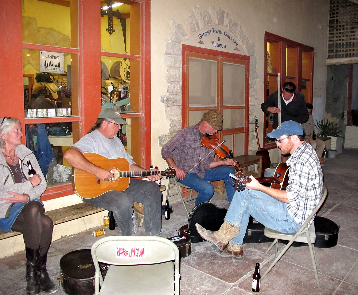 "Locals provide foot-tappin' music on The Porch. (Additional photos of Terlingua in Jim Tuvell's album. <a href=""https://plus.google.com/u/0/stream/circles/p365a2dda08573bea"">https://plus.google.com/u/0/stream/circles/p365a2dda08573bea</a>)"