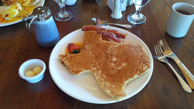 "The menu said ""Texas Pancakes.""  Truth in advertising! (Photo and caption by Jim Tuvell.)"